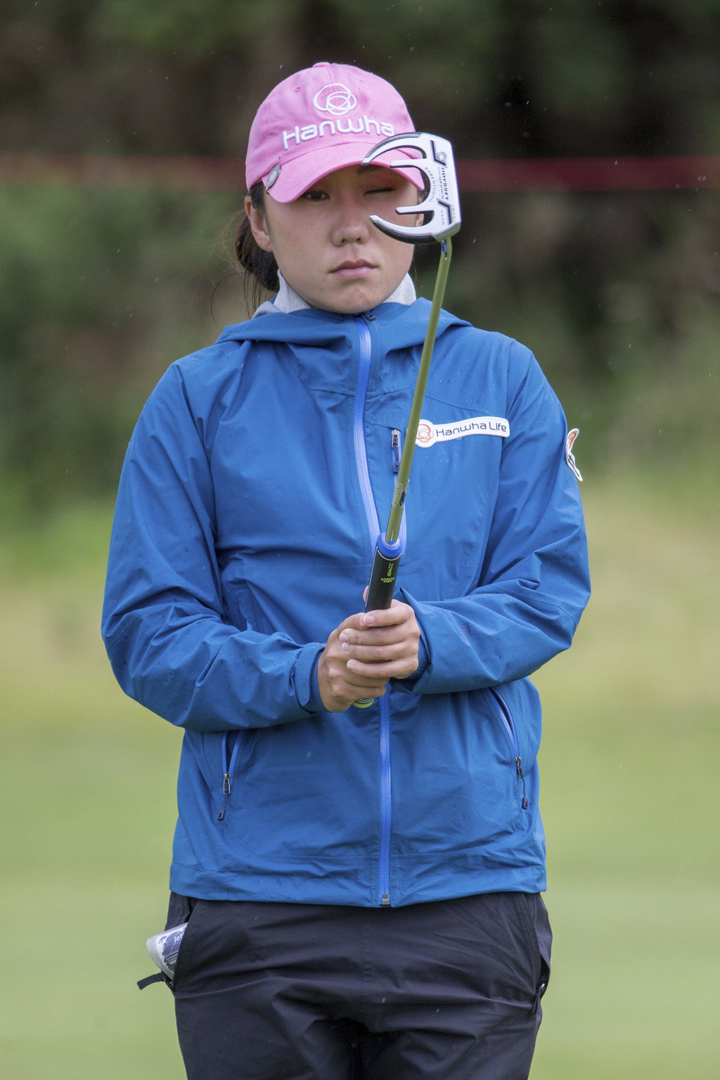 South Korea's In-Kyung Kim lines up her putt on the 4th hole, during day three of the Women's British Open at Kingsbarns Golf Links, St Andrews, Scotl...