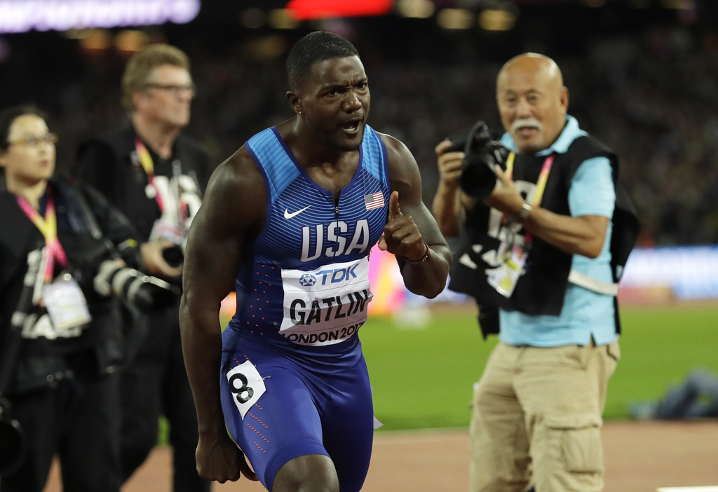 United States' Justin Gatlin gestures after winning the Men's 100 meters final during the World Athletics Championships in London Saturday, Aug. 5, 20...