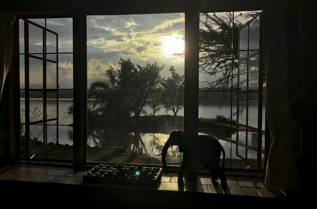 In this photo taken Wednesday, July 26, 2017, a water reservoir is seen from the bedroom of livestock breeder Maria Dodds at her home which was attack...