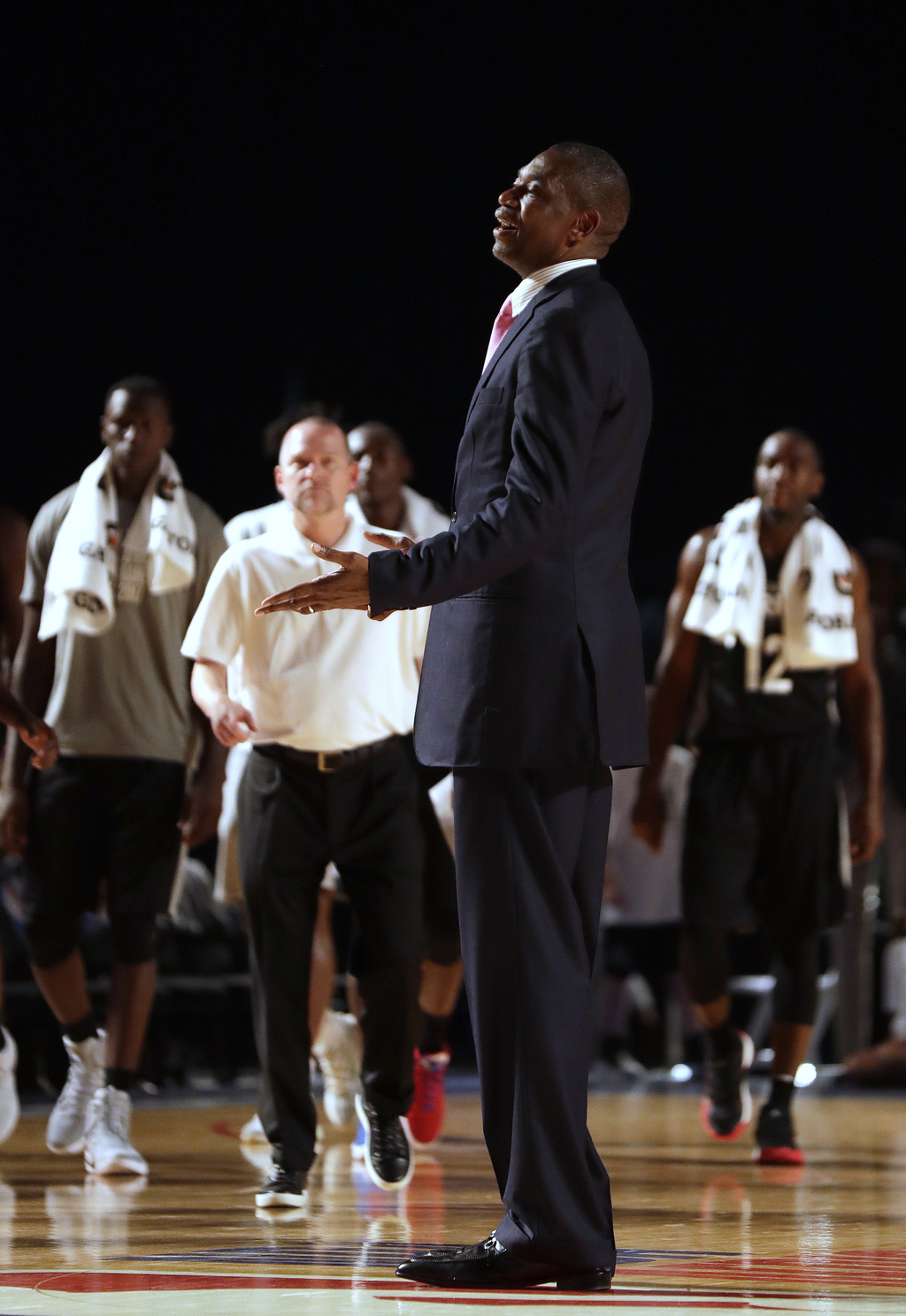 NBA Ambassador Dikembe Mutombo, during the NBA Africa Game between Team Africa and Team World, at the Dome in Johannesburg, South Africa, Saturday, Au...