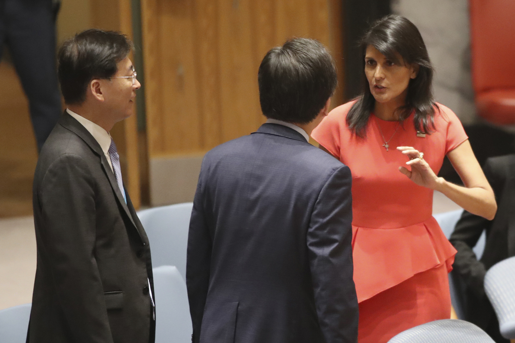 U.S. Ambassador to the United Nations Nikki Haley, right, speaks to South Korean Ambassador to the United Nations Cho Tae-yul before a Security Counci...