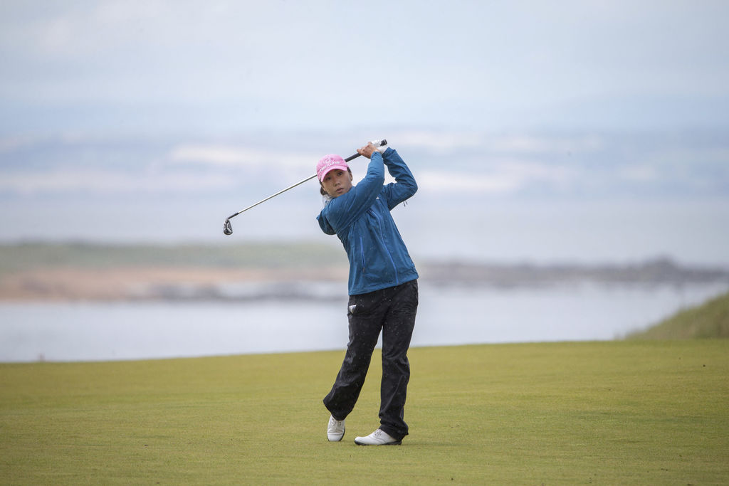 South Korea's In-Kyung Kim plays her approach shot into the 4th hole during day three of the Women's British Open at Kingsbarns Golf Links, St Andrews...