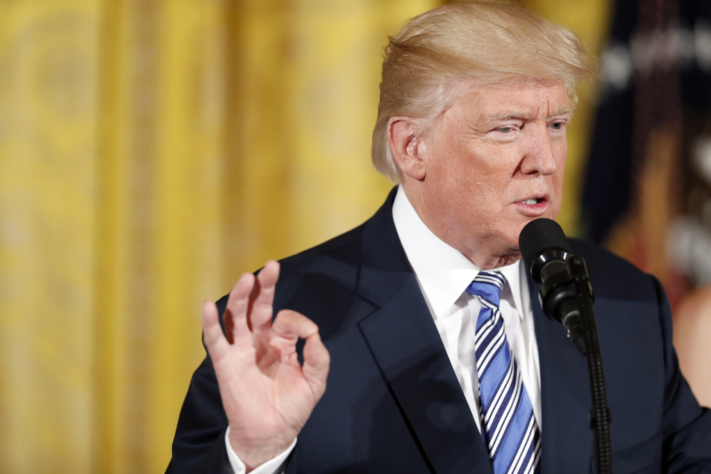 In this photo taken Aug 1, 2017, President Donald Trump speaks in the East Room of the White House in Washington. President Donald Trump has dictated ...