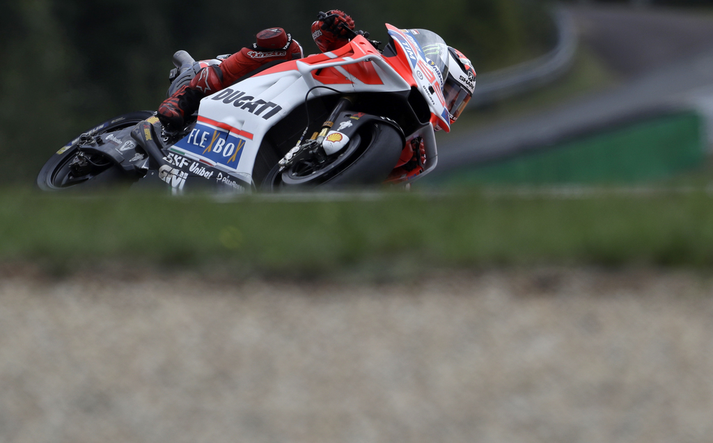 Spain's MotoGP rider Jorge Lorenzo of the Ducati Team rides during the MotoGP race at the Czech Republic motorcycle Grand Prix at the Automotodrom Brn...
