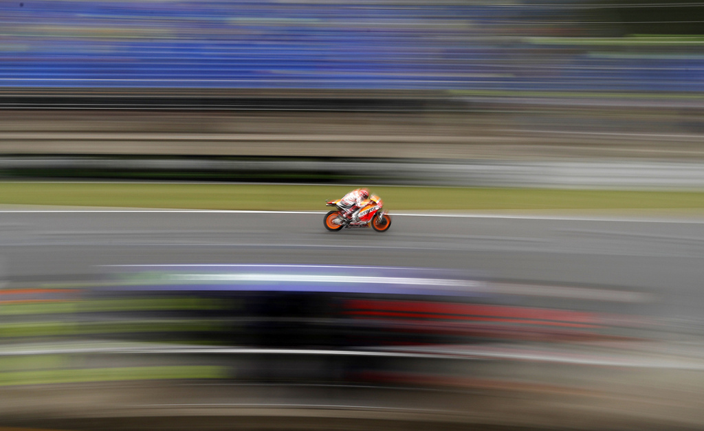Spain's MotoGP rider Marc Marquez of the Repsol Honda Team rides during a warm up session for the MotoGP race at the Czech Republic motorcycle Grand P...