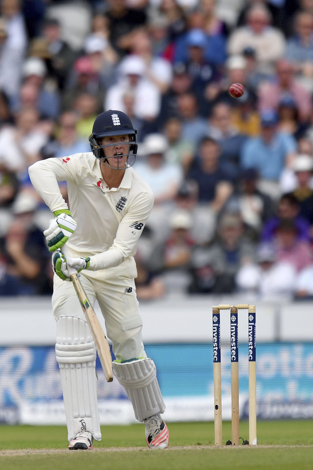 England's Keaton Jennings in action during the match against South African during day three of the Fourth Test match at Emirates Old Trafford in Manch...