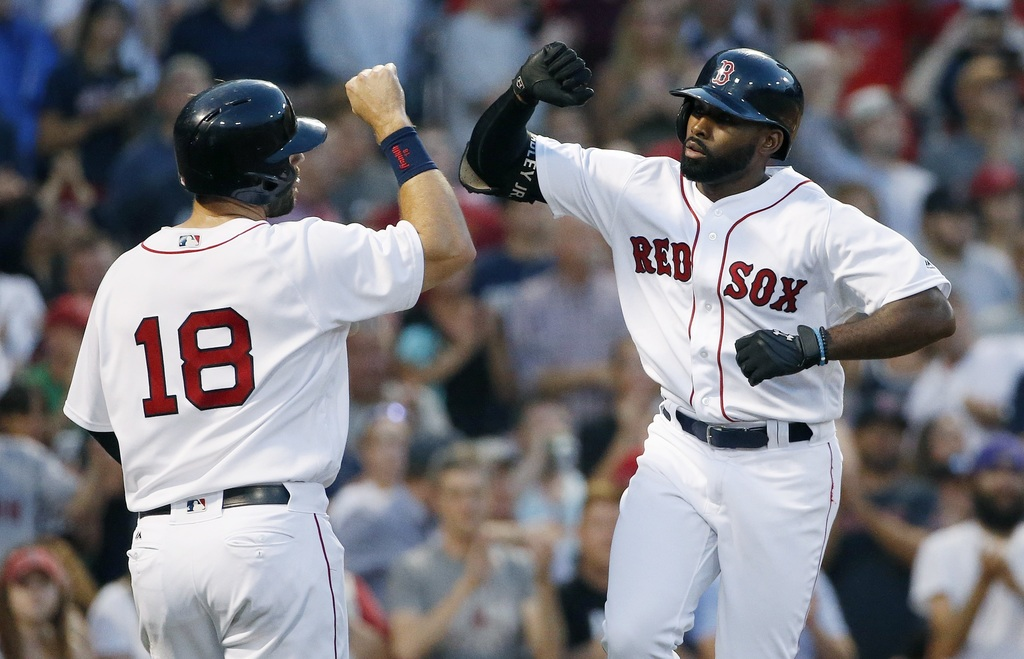 Boston Red Sox's Jackie Bradley Jr., right, celebrates his two-run home run that also drove in Mitch Moreland (18) during the second inning of a baseb...