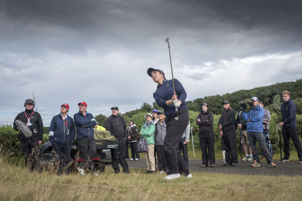 England's Georgia Hall plays from the back of the 9th after getting a free drop,  during day three of the Women's British Open at Kingsbarns Golf Link...