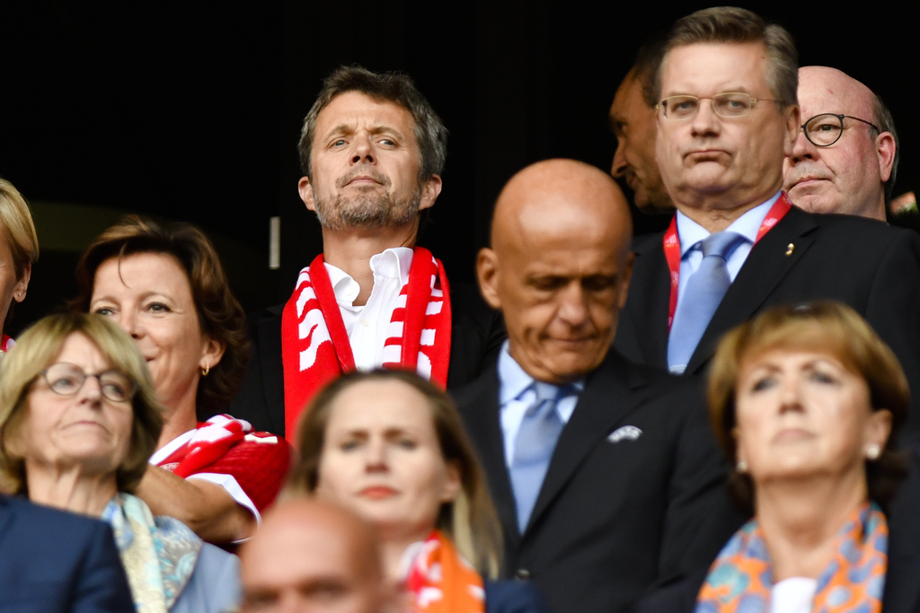 Danish Crown Prince Frederik, center back ground, stands on the tribune during the Women's Euro 2017 final soccer match between Netherlands and Denmar...