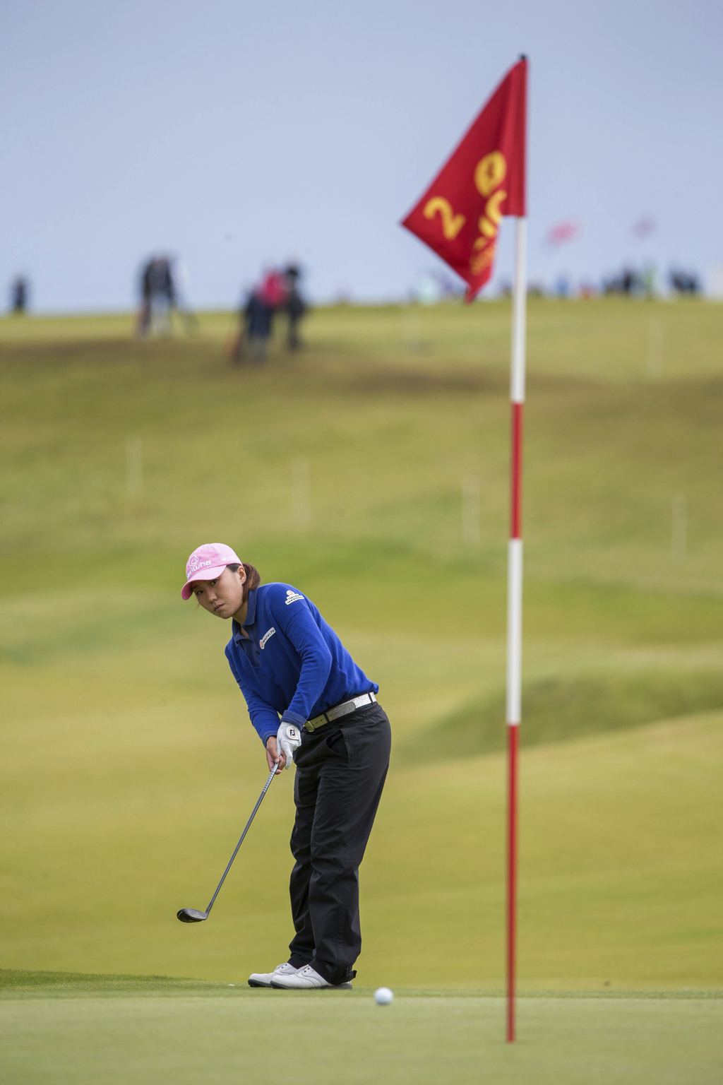 Korea's In-Kyung Kim plays a bump and run onto the 2nd hole during day four of the 2017 Women's British Open at Kingsbarns Golf Links, St Andrews, Sun...