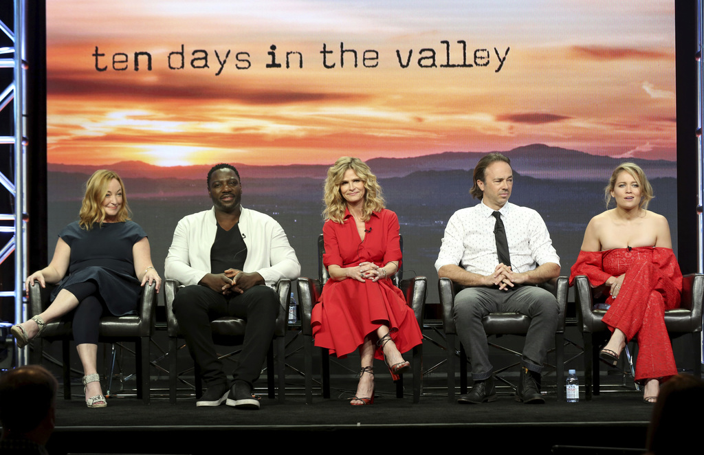 "Tassie Cameron, from left, Adewale Akinnuoye-Agbaje, Kyra Sedgwick, Kick Gurry and Erika Christensen participate in the ""Ten Days In The Valley"" panel..."