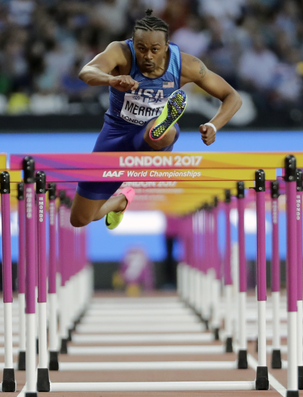 United States' Aries Merritt competes in a Men's 110m hurdles semifinal during the World Athletics Championships in London Sunday, Aug. 6, 2017. (AP P...