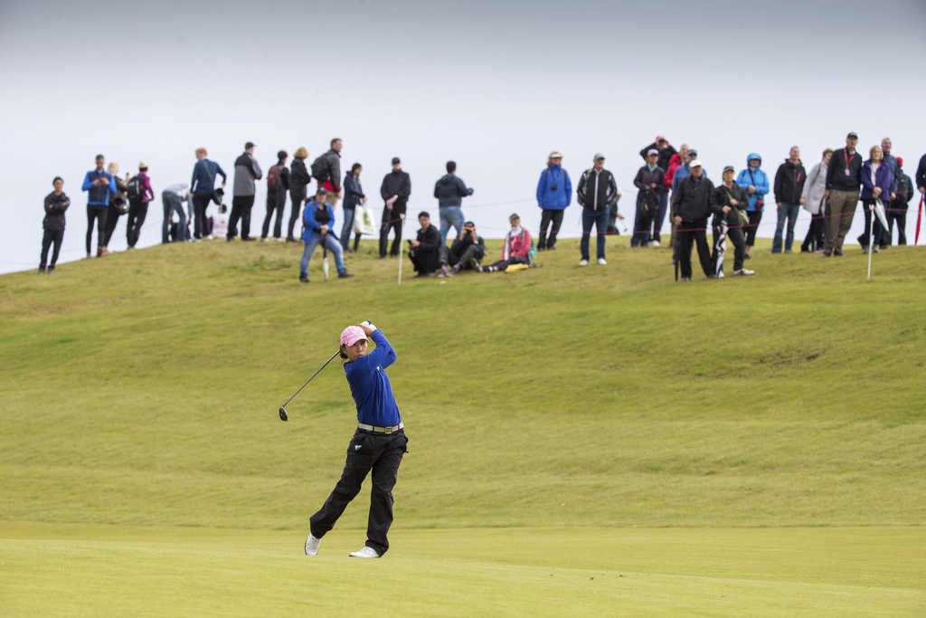 Korea's In-Kyung Kim plays her approach to the 2nd hole during day four of the 2017 Women's British Open at Kingsbarns Golf Links, St Andrews, Sunday ...