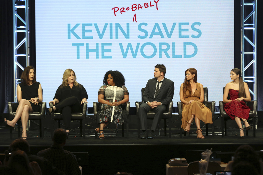 """Michele Fazekas, from left, Tara Butters, Kimberly Hebert Gregory, Jason Ritter, Joanna Garcia Swisher and Chloe East participate in the """"Kevin (Proba..."""