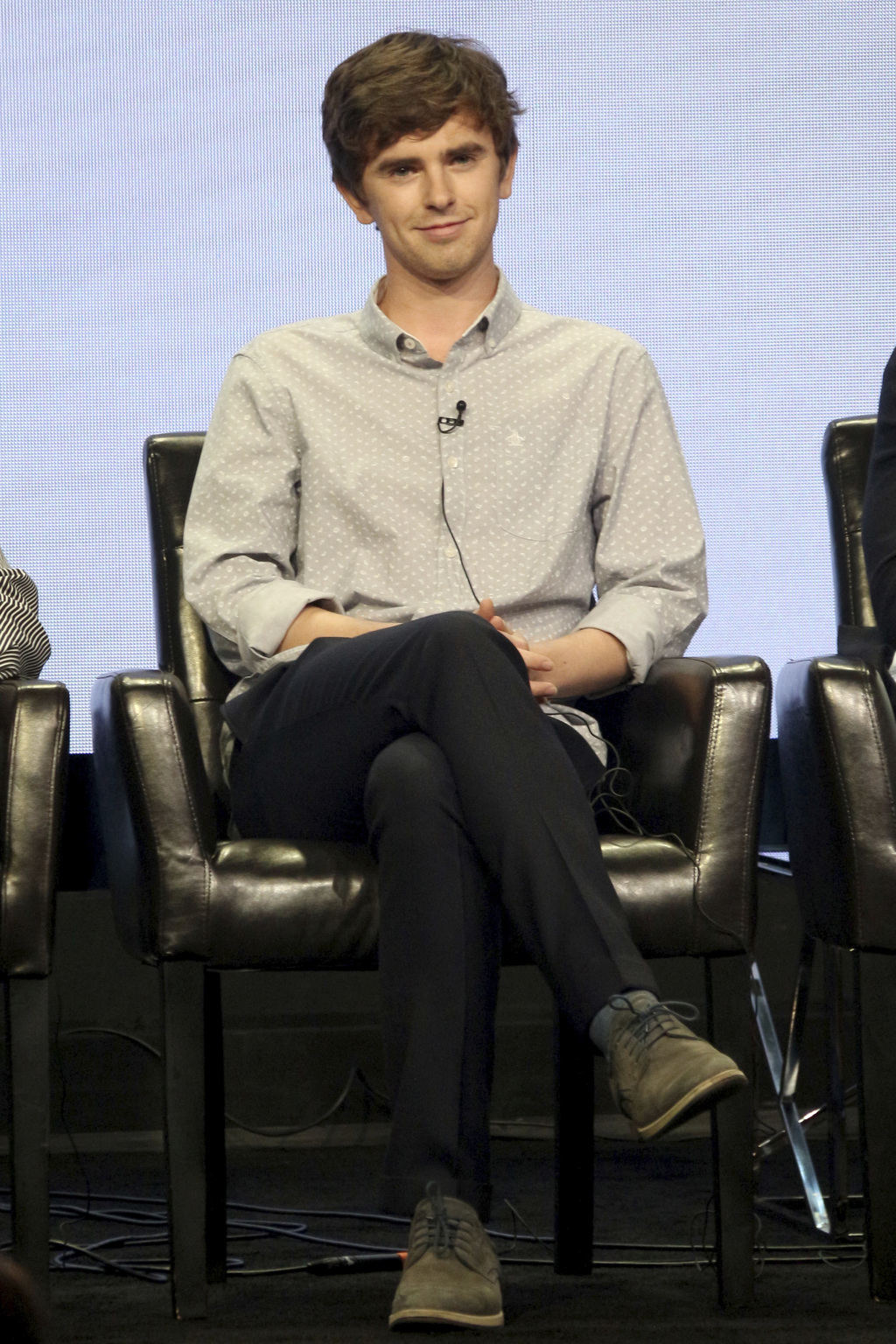 """Freddie Highmore participates in the """"The Good Doctor"""" panel during the Disney ABC Television Critics Association Summer Press Tour at the Beverly Hil..."""