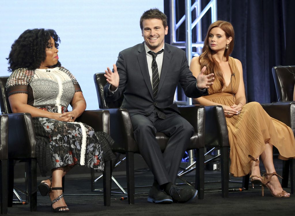 """Kimberly Hebert Gregory, from left, Jason Ritter and Joanna Garcia Swisher participate in the """"Kevin (Probably) Saves The World"""" panel during the Disn..."""