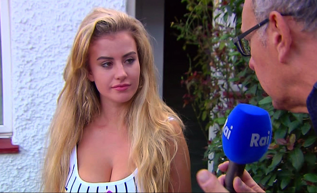 In this image made from video taken on Sunday, Aug. 6, 2017, model Chloe Ayling speaks with the media outside of her house in Surrey, England. The law...