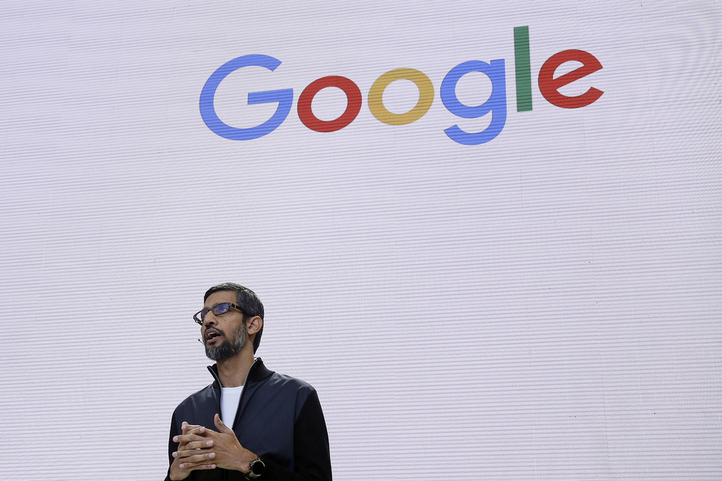 FILE - In this file photo dated May 17, 2017, file photo, Google CEO Sundar Pichai delivers the keynote address for the Google I/O conference in Mount...