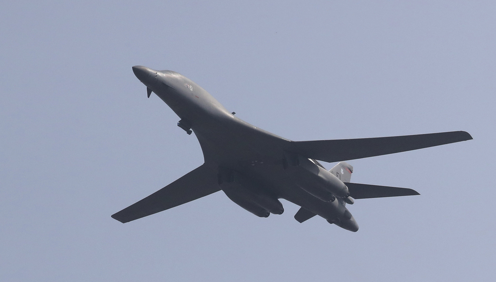 FILE - In this Sept. 13, 2016, file photo, a U.S. B-1B bomber flies over Osan Air Base in Pyeongtaek, South Korea. Tensions between the United States ...