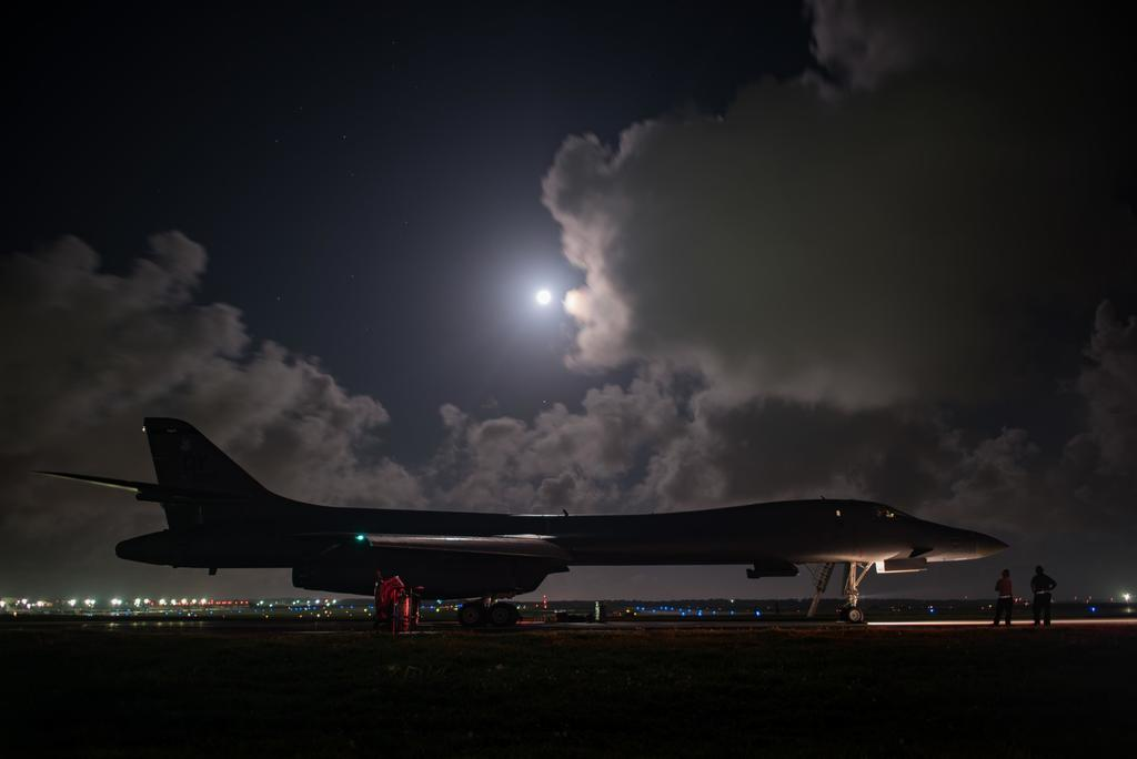 In this image released by the U.S, Air Force, a B-1B Lancer assigned to the 9th Expeditionary Bomb Squadron, deployed from Dyess Air Force Base, Texas