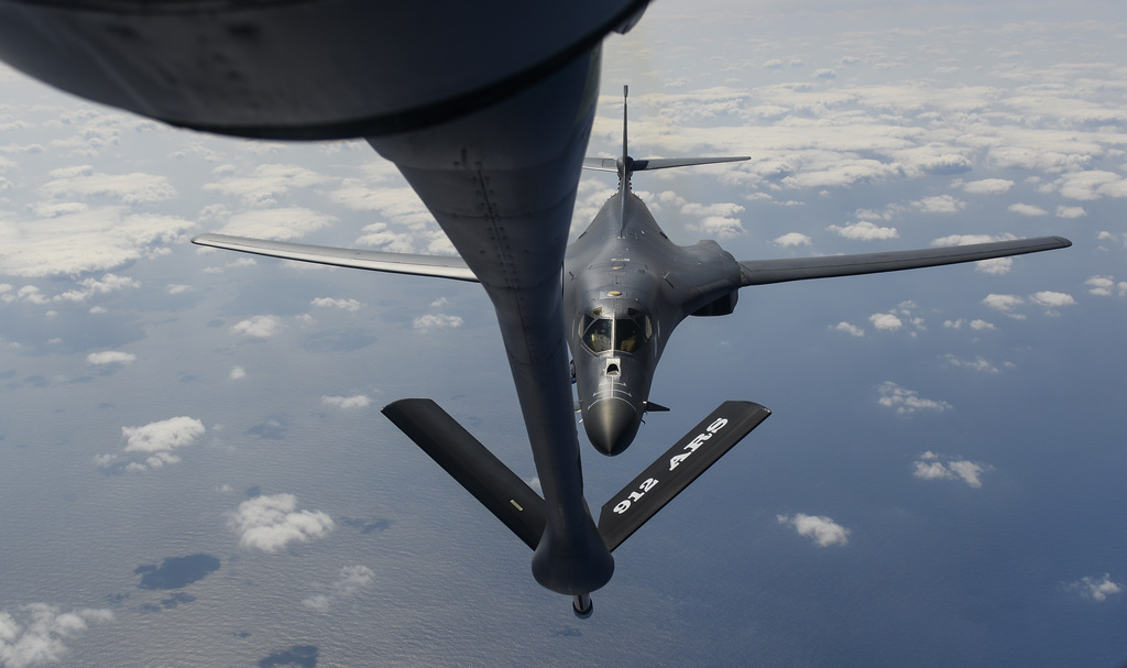 In this image provided by the U.S. Air Force, a B-1B Lancer assigned to the 9th Expeditionary Bomb Squadron, deployed to Andersen Air Force Base, Guam