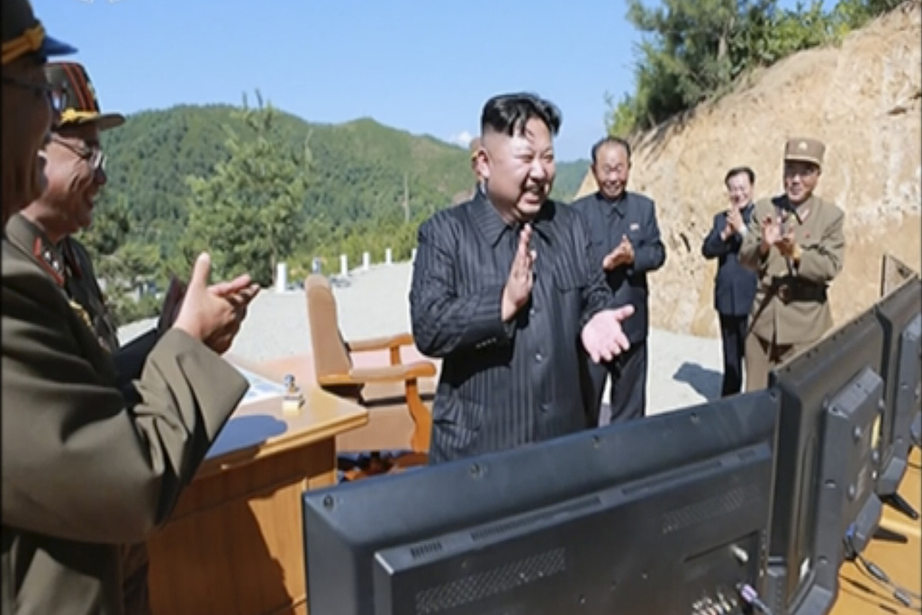 FILE - This image made from video of a news bulletin aired by North Korea's KRT on Tuesday, July 4, 2017, shows what was said to be North Korea leader...