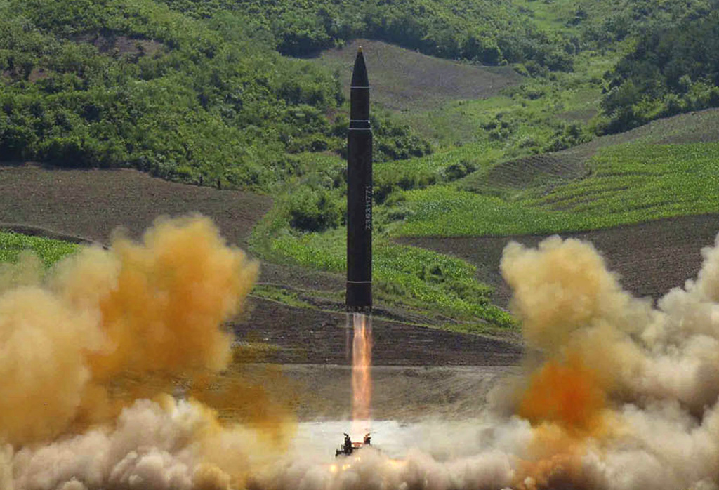 FILE - This July 4, 2017 file photo distributed by the North Korean government shows what was said to be the launch of a Hwasong-14 intercontinental b...