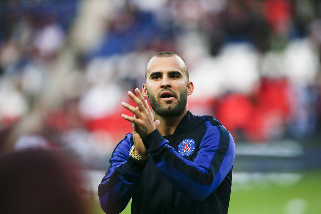 FILE - In this Aug. 21, 2016 file photo, PSG's Jese Rodriguez reacts before the French League One soccer match between PSG and Metz at the Parc des Pr...