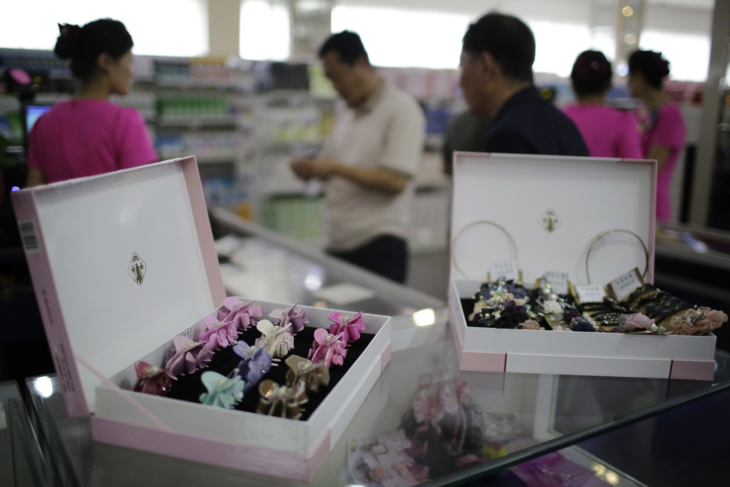In this Monday, June 19, 2017, photo, hair accessories are sold on the second level of the Potonggang department store in Pyongyang, North Korea. Thre...