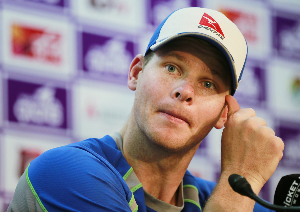 Australian cricket captain Steve Smith speaks during a news conference in Dhaka Bangladesh Saturday Aug. 19 2017. Australia is scheduled to play