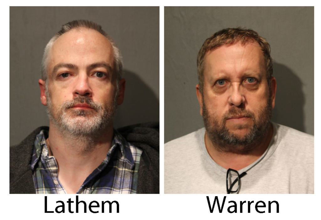 These booking photos provided by the Chicago Police Department show Wyndham Lathem, left, and Andrew Warren on Saturday, Aug. 19, 2017.  Lathem, a Nor...