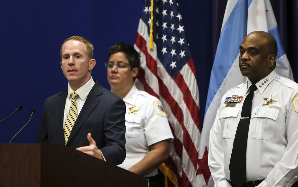 Detective Commander Brendan Deenihan speaks about the charges against Andrew Warren and Wyndham Lathem during a news conference at the Chicago Police ...