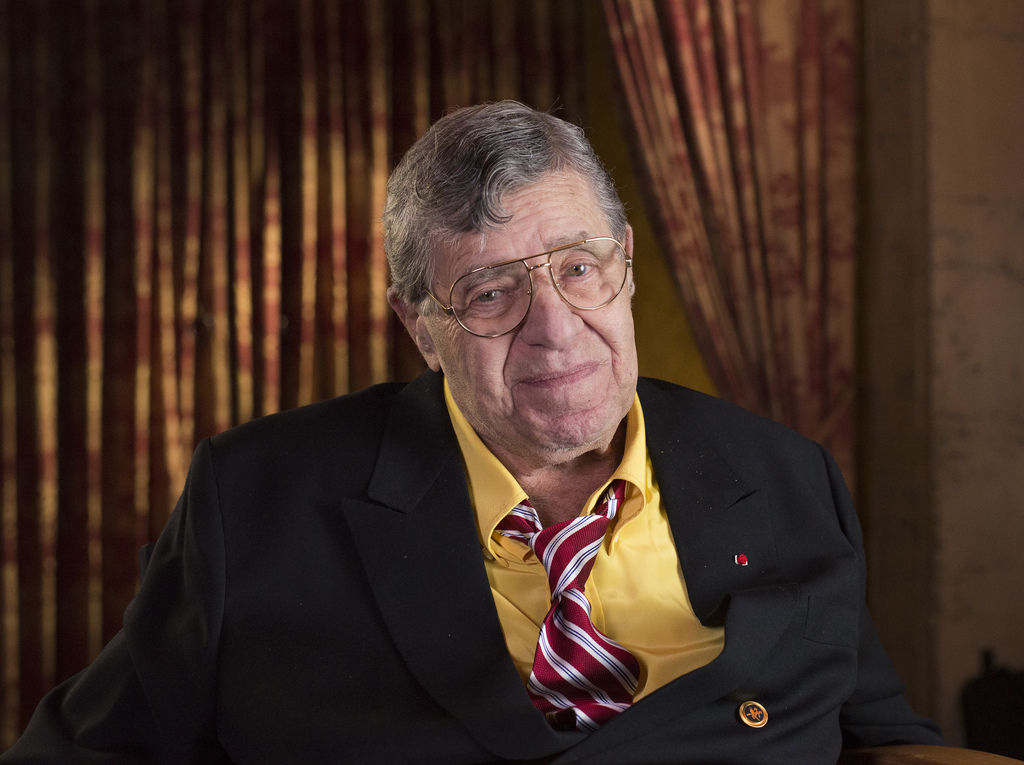 FILE - In this April 12, 2014, file photo, actor and comedian Jerry Lewis poses during an interview at TCL Chinese Theatre in Los Angeles. Lewis, the ...