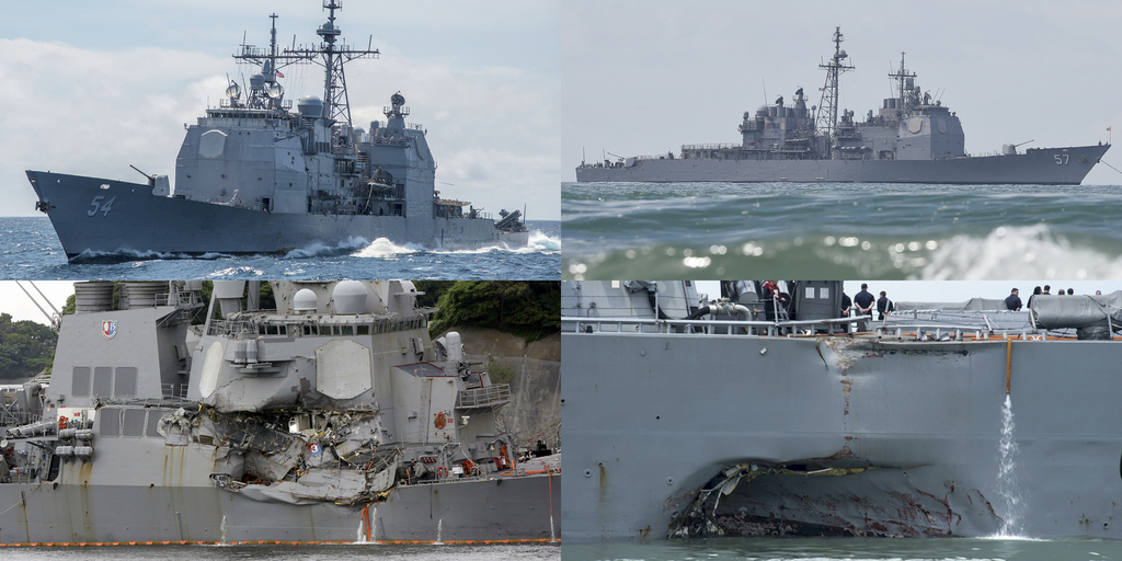 This combination of file photos show U.S. Navy ships the USS Antietam, top left; the USS Lake Champlain, top right; the USS Fitzgerald, bottom left; a...