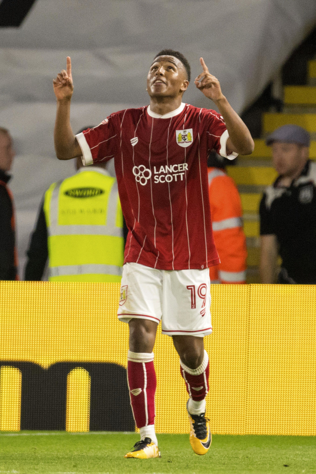 Bristol City's Niclas Eliasson celebrates scoring against Watford during the League Cup second round soccer match at Vicarage Road, Watford, England, ...