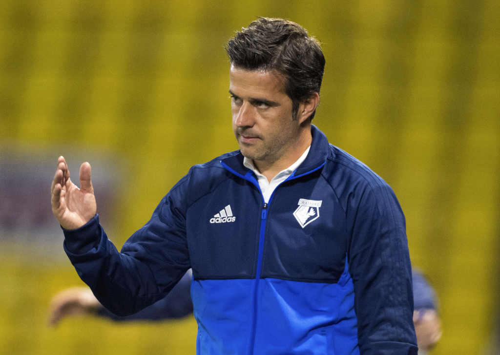 Watford manager Marco Silva gestures during the League Cup second round soccer match against Bristol City at Vicarage Road, Watford, England, Tuesday ...