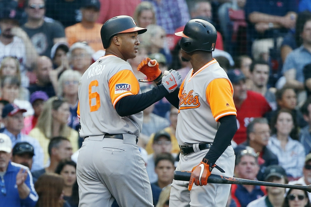 Baltimore Orioles' Jonathan Schoop (6) celebrates his solo home run with Adam Jones during the eighth inning of a baseball game against the Boston Red...