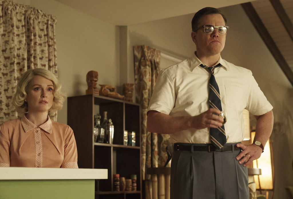 """This image released by Paramount Pictures shows  Julianne Moore, left, and Matt Damon in a scene from """"Suburbicon."""" (Hilary Bronwyn Gayle/Paramount Pi..."""