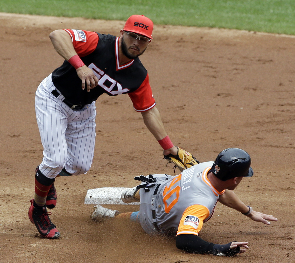 Chicago White Sox second baseman Yolmer Sanchez, left, tags out Detroit Tigers' JaCoby Jones at second base during the third inning of a baseball game...