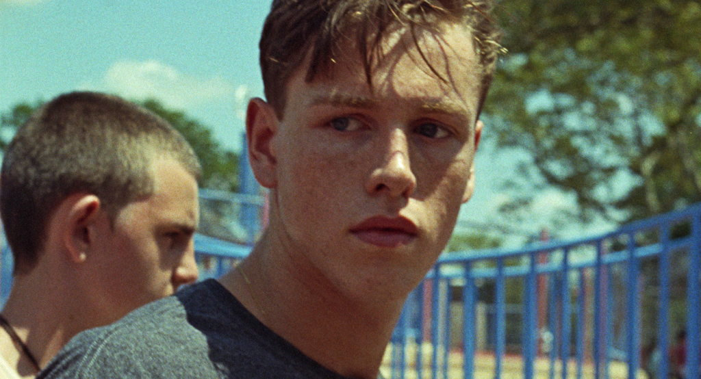 """This image released by Neon shows Harris Dickinson in a scene from """"Beach Rats."""" (Neon via AP)"""
