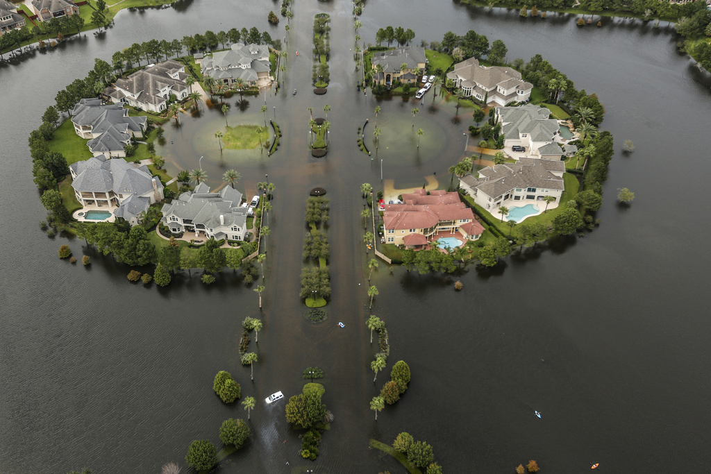 Floodwaters fill the road running through the Lakes On Eldridge North subdivision in the aftermath of Tropical Storm Harvey on Wednesday, Aug. 30, 201...