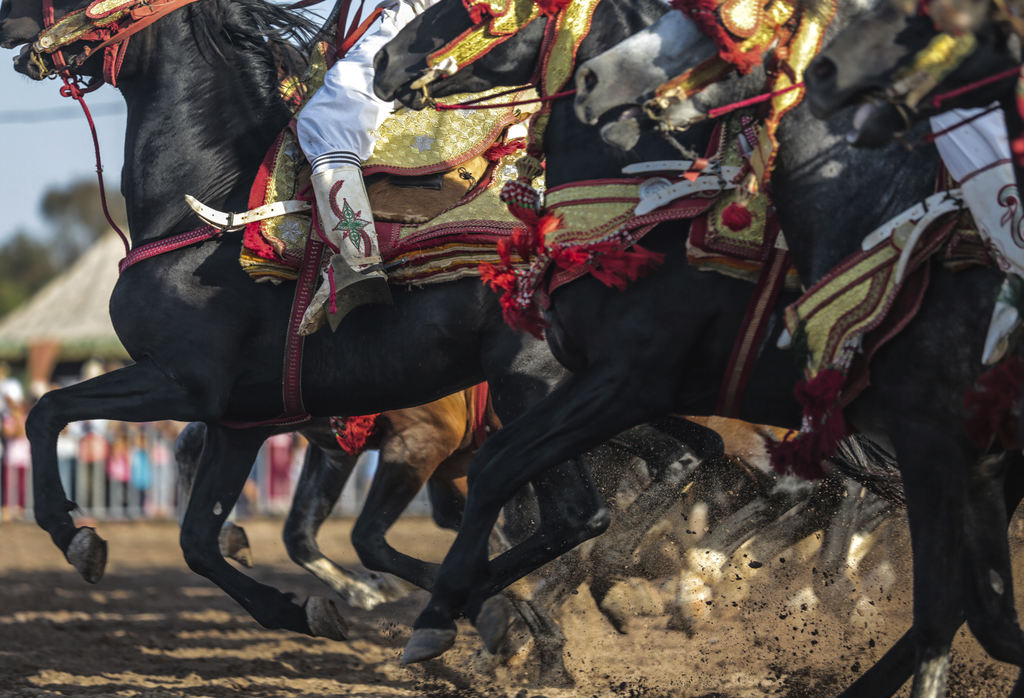 In this Thursday, Aug. 17, 2017 photo, a troupe charges and hold their rifles before firing, during Tabourida, a traditional horse riding show also kn...