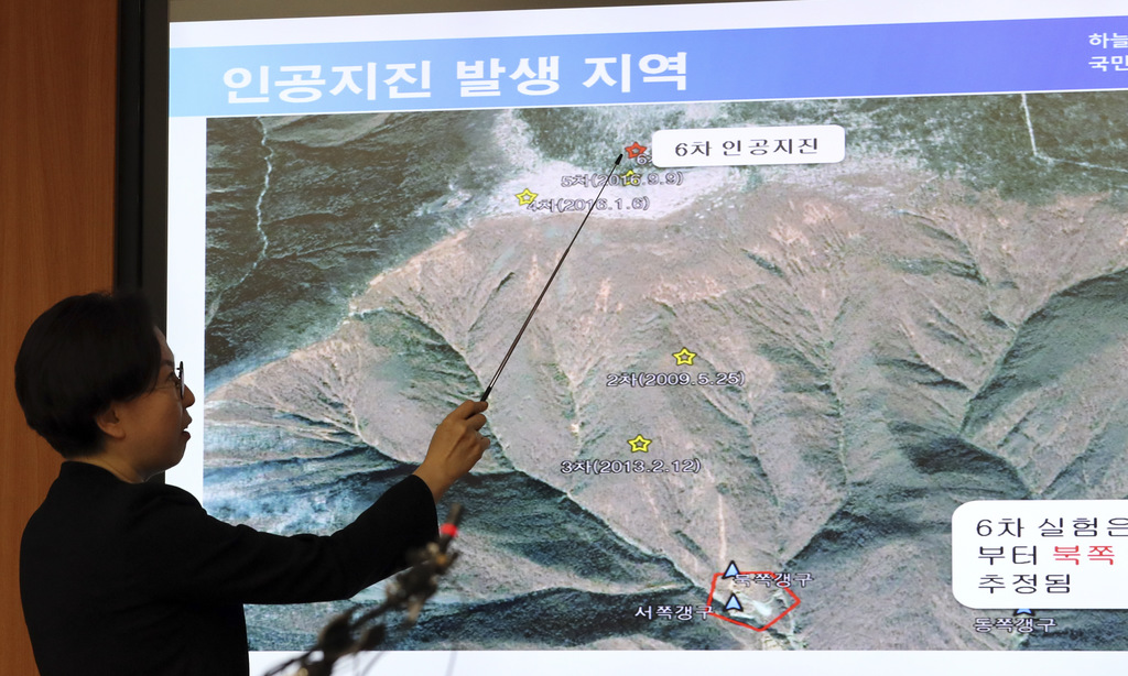 Earthquake and Volcano of the Korea Meteorological Administration Director Lee Mi-seon briefs to the media about artificial earthquake in North Korea,...