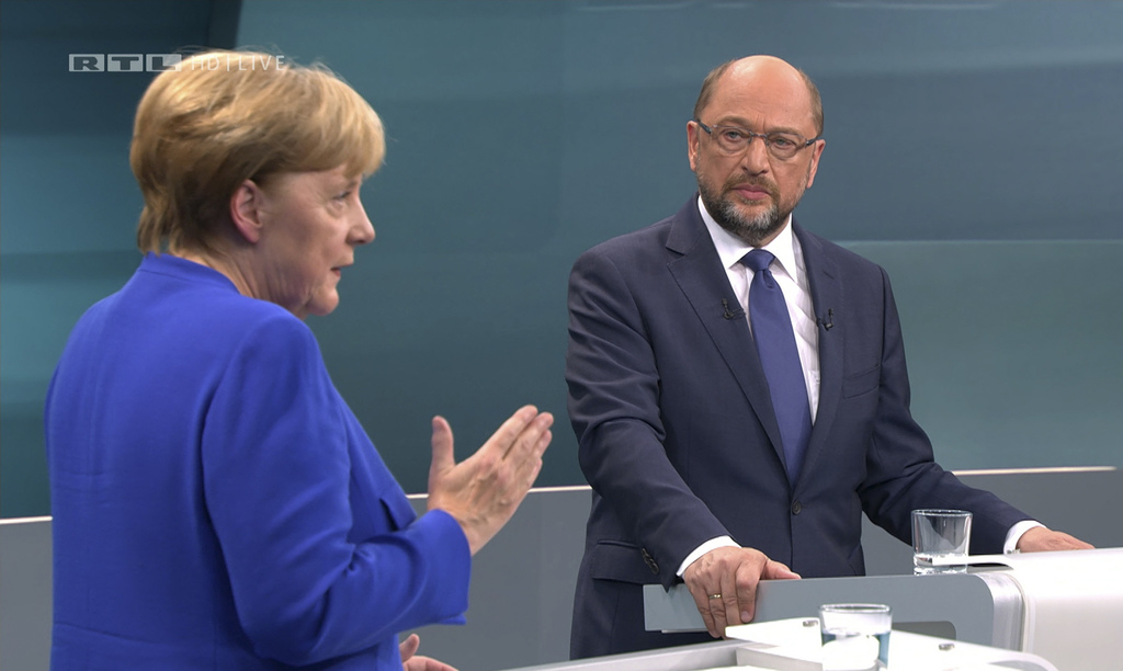 The screenshot provided by RTL shows German Chancellor Angela Merkel, left, of the Christian Democratic party, and her challenger Martin Schulz of the...