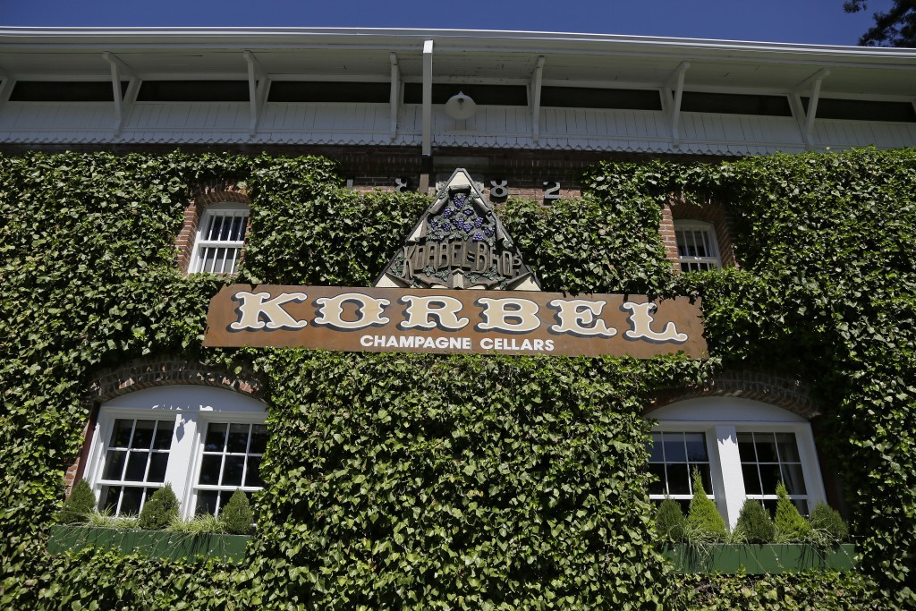 In this photo taken Monday, July 10, 2017, is the historic ivy-covered winery building at Korbel Champagne Cellars in Guerneville, Calif. The red-bric...