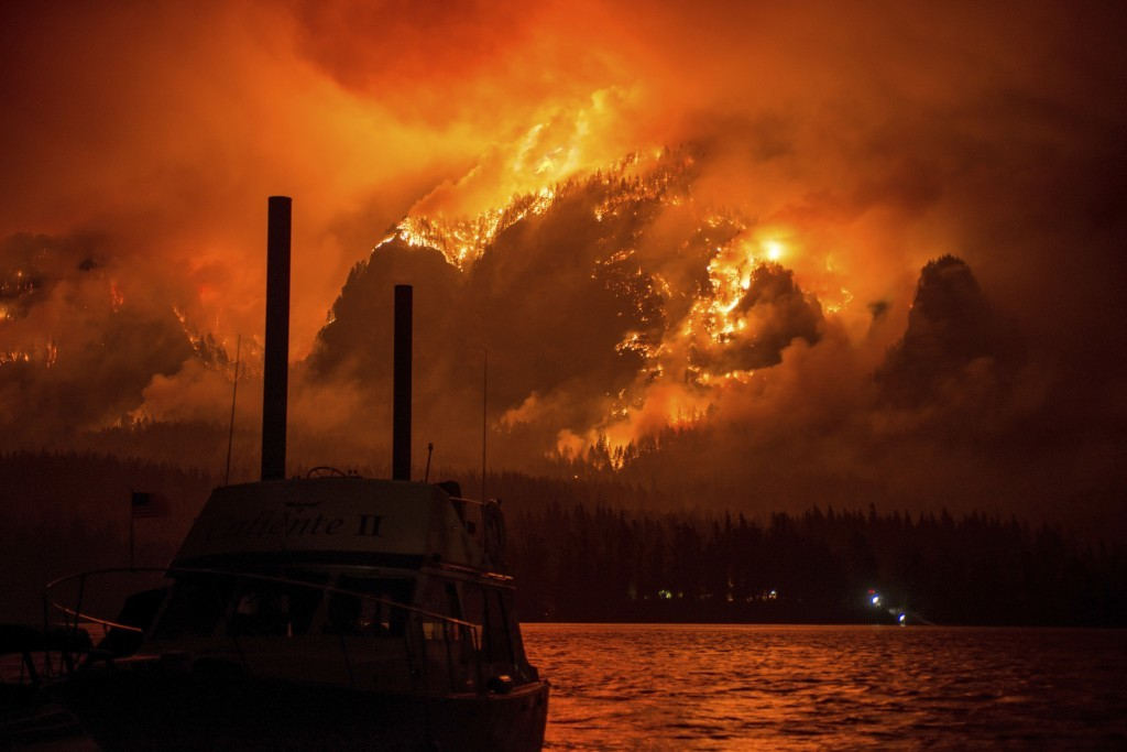 This Monday Sept. 4, 2017, photo provided by KATU-TV shows the Eagle Creek wildfire as seen from Stevenson Wash., across the Columbia River, burning i...