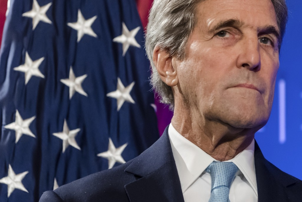 """FILE - In this Tuesday, Oct. 4, 2016 file photo, U.S. Secretary of State John Kerry pauses during a speech on the future of """"Transatlantic Relations"""" ..."""
