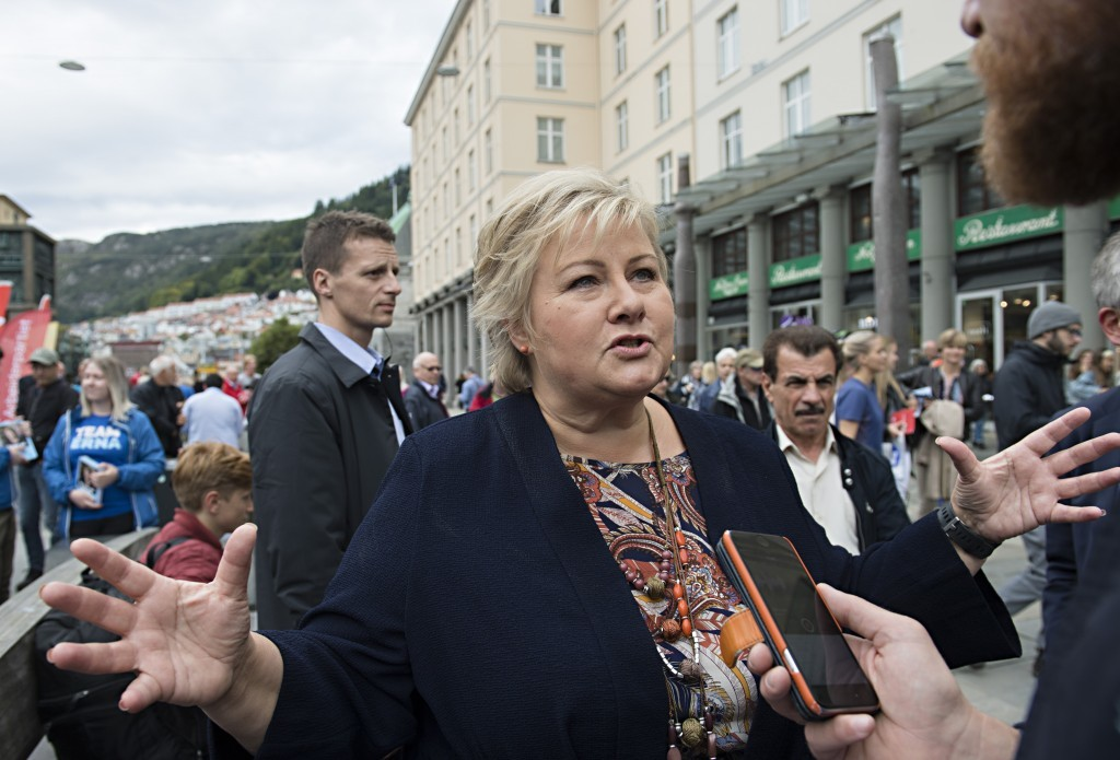 Norway's Prime Minister and leader of the Conservative Party, Erna Solberg, at an election campaign event in Bergen, Norway Friday, Sept. 8, 2017. Nor...