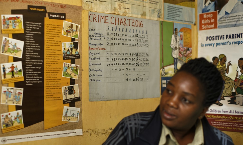 In this Tuesday, May 30, 2017 photo, the previous year's crime chart showing the monthly figures of different types of crime affecting women and child...