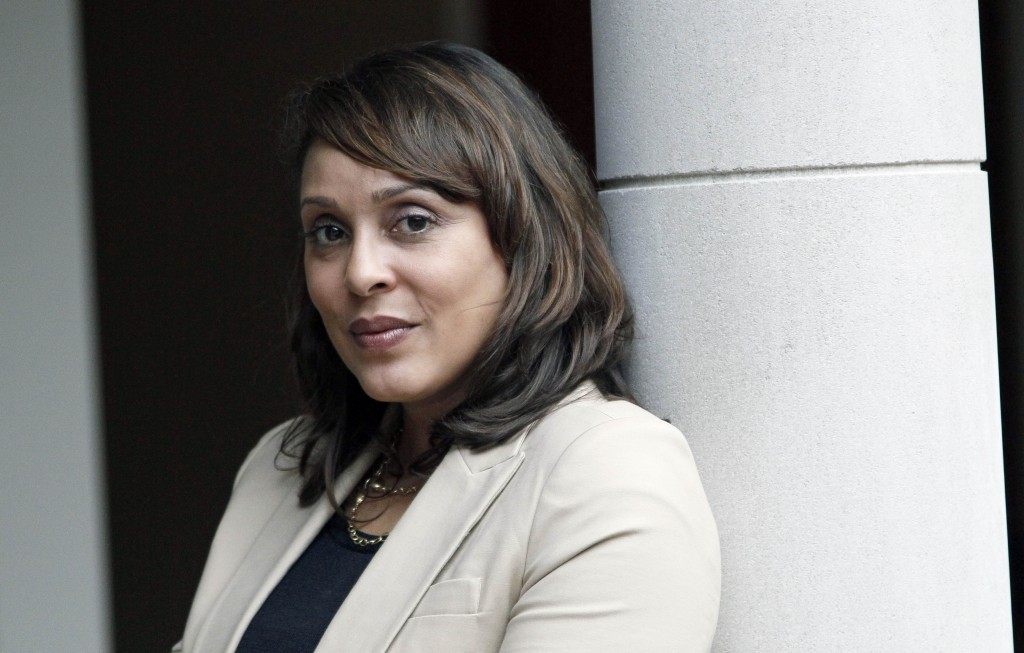 FILE – In this Sept. 18, 2012, file photo, U.S. Poet Laureate Natasha Trethewey poses outside the office of Delta State University's president before ...